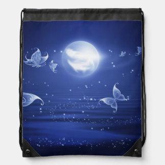 Sparkling Butterflies Luna moths fly by moon light Cinch Bags