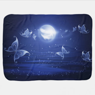 Sparkling Butterflies Luna moths fly by moon light Receiving Blanket