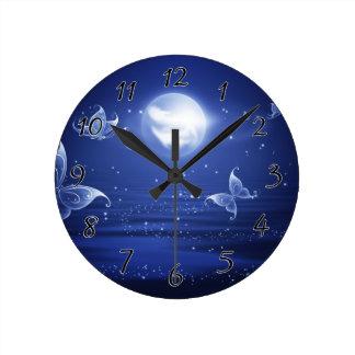 Sparkling Butterflies Luna moths fly by moon light Round Clock