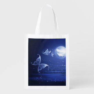 Sparkling Butterflies Luna moths fly by moon light Reusable Grocery Bags