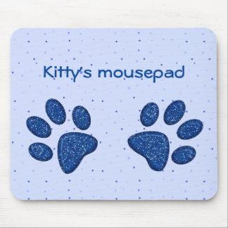 sparkling cat paw print - blue mouse pad