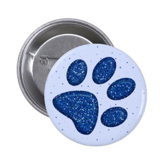 sparkling cat paw print - blue pinback button