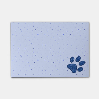 sparkling cat paw print - blue post-it notes