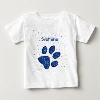 sparkling cat paw print - blue t-shirt