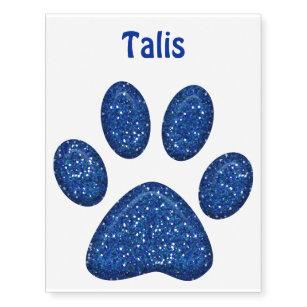 sparkling cat paw print - blue temporary tattoos