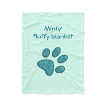 sparkling cat paw print - mint fleece blanket