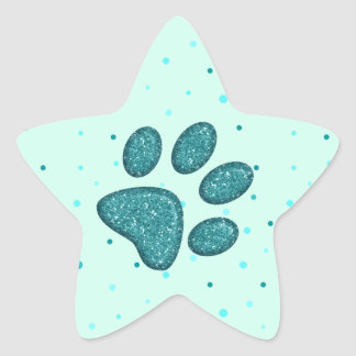 sparkling cat paw print - mint star sticker