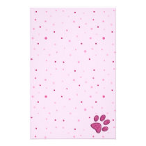 sparkling cat paw print - pink stationery