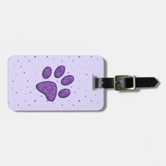 sparkling cat paw print - purple bag tag