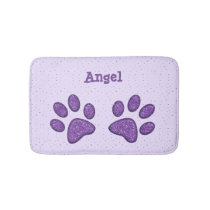 sparkling cat paw print - purple bathroom mat