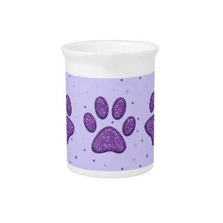 sparkling cat paw print - purple beverage pitcher