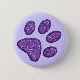 sparkling cat paw print - purple button