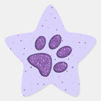 sparkling cat paw print - purple star sticker