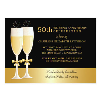 Sparkling Champagne 50th Wedding Anniversary Party 5x7 Paper Invitation Card