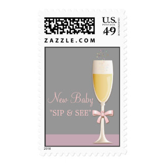 Sparkling Champagne Welcome Baby Sip & See Stamp