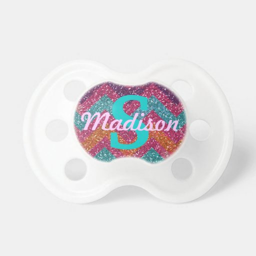 Sparkling Chevron Personalized Baby Girl Pacifier Booginhead Pacifier