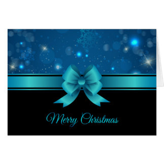 Sparkling Christmas blue design with ribbon Card