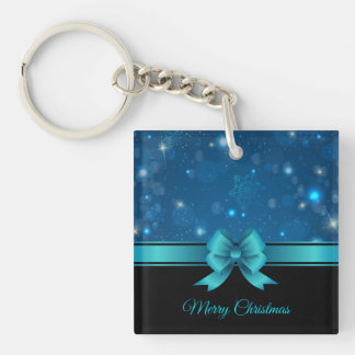 Sparkling Christmas blue design with ribbon Double-Sided Square Acrylic Keychain