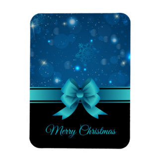 Sparkling Christmas blue design with ribbon Flexible Magnets