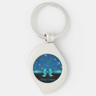 Sparkling Christmas blue design with ribbon Silver-Colored Swirl Metal Keychain
