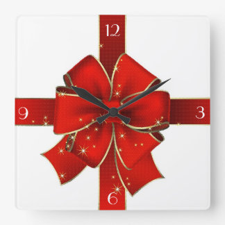 Sparkling Christmas Bow Clock