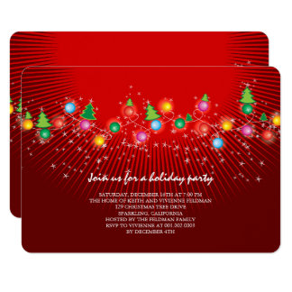 Sparkling Christmas Lights Holiday Party Invite