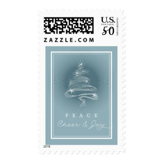 Sparkling Christmas Tree Business Holiday Stamps at Zazzle