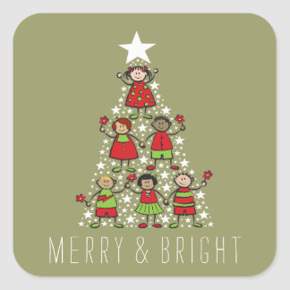 Sparkling Christmas Tree Kids Fun Holiday Sticker