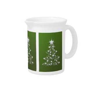 Sparkling Christmas Tree on Green Drink Pitcher