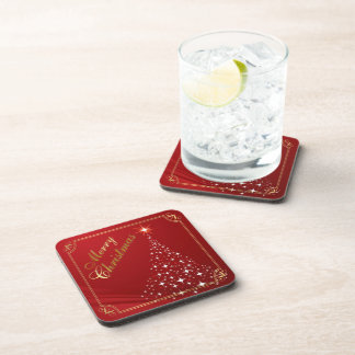 Sparkling Christmas Tree on Red Drink Coaster