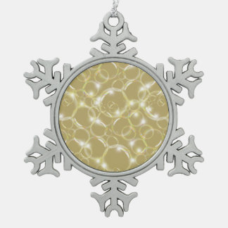Sparkling Clear Translucent Bubble Light Champagne Snowflake Pewter Christmas Ornament