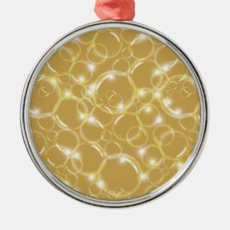 Sparkling Clear Translucent Bubbles On Champagne Metal Ornament