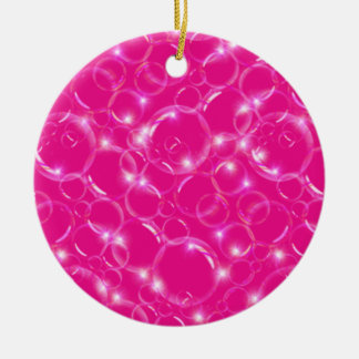 Sparkling Clear Translucent Bubbles On Hot Pink Ceramic Ornament