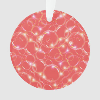 Sparkling Clear Translucent Bubbles On Red Ornament