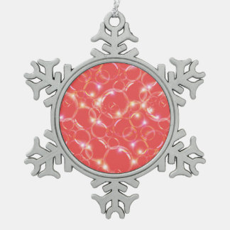 Sparkling Clear Translucent Bubbles On Red Snowflake Pewter Christmas Ornament
