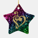 Sparkling Colored Stars with Music Symbols Ceramic Ornament