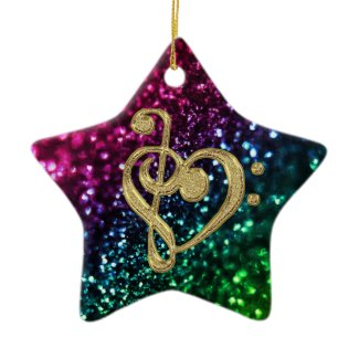 Sparkling Colored Stars with Music Symbols Ornament