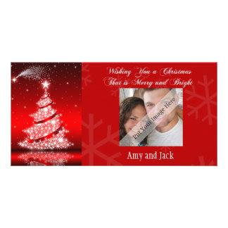 Sparkling Contemporary Christmas Tree Photo Card