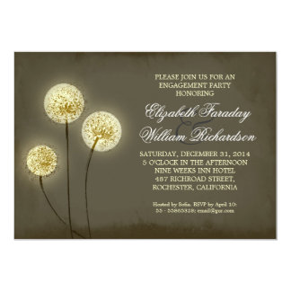 sparkling dandelions engagement party invitations