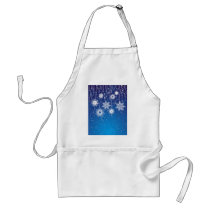 Sparkling Dangling Snowflakes on Blue Adult Apron
