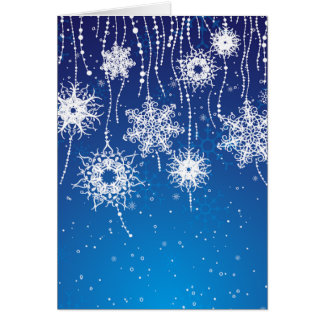 Sparkling Dangling Snowflakes on Blue Card