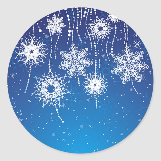 Sparkling Dangling Snowflakes on Blue Classic Round Sticker