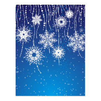 Sparkling Dangling Snowflakes on Blue Postcard