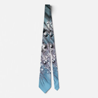 Sparkling Dew Dandelion Sky Blue Background Neck Tie
