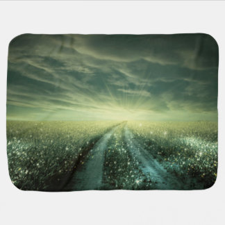 Sparkling Dew filled field during Sunrise Baby Blanket