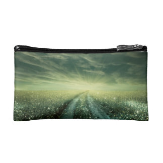Sparkling Dew filled field during Sunrise Cosmetic Bag