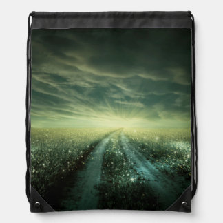 Sparkling Dew filled field during Sunrise Drawstring Bag
