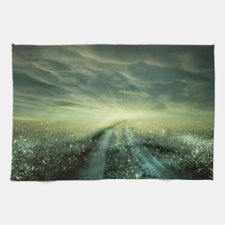 Sparkling Dew filled field during Sunrise Hand Towel