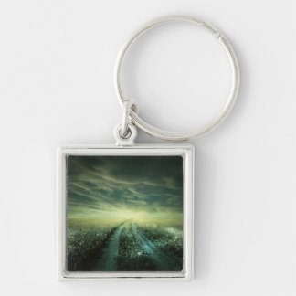 Sparkling Dew filled field during Sunrise Keychain