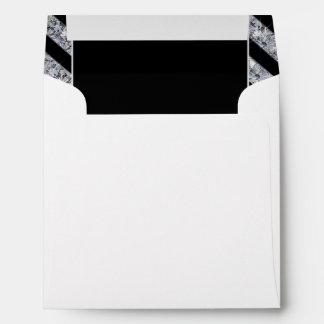 Sparkling Diamond & Black Stripes Wedding Envelope